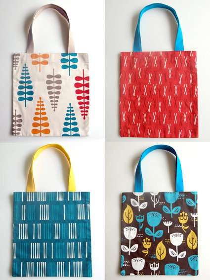 Four different fabric totes