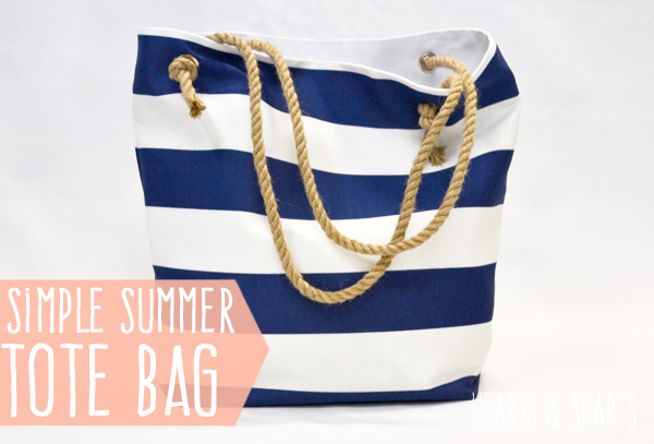 A beach tote with ropes for handles