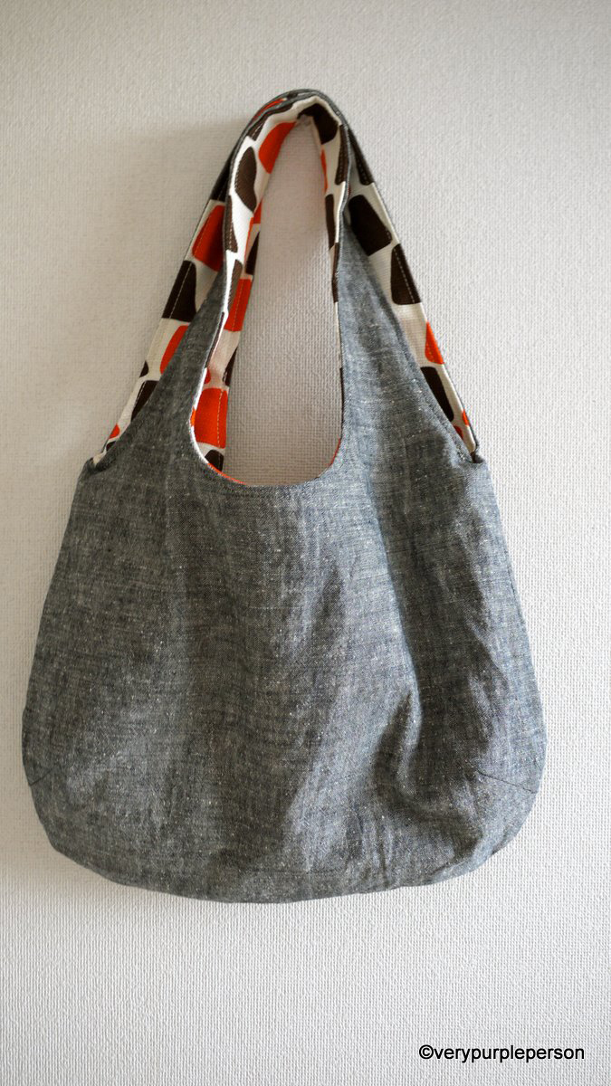 A reversible tote bag
