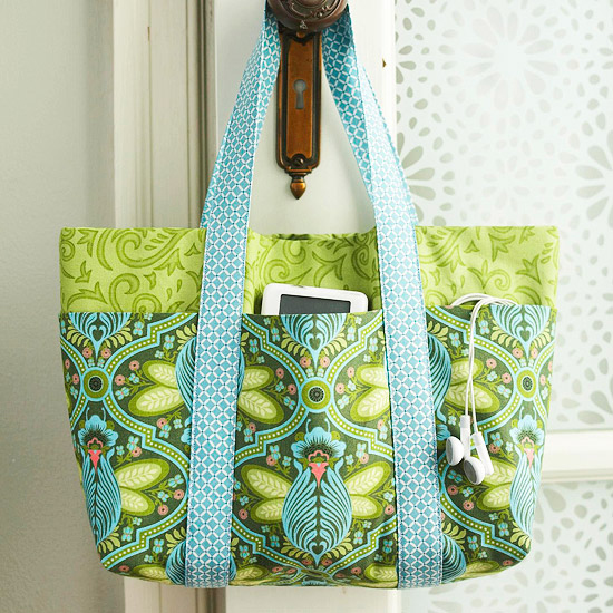 A 6-pocket tote bag made out of floral fabric