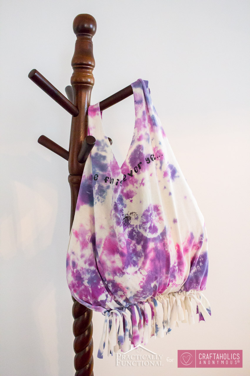 A tote bag made from a tie-dye tshirt