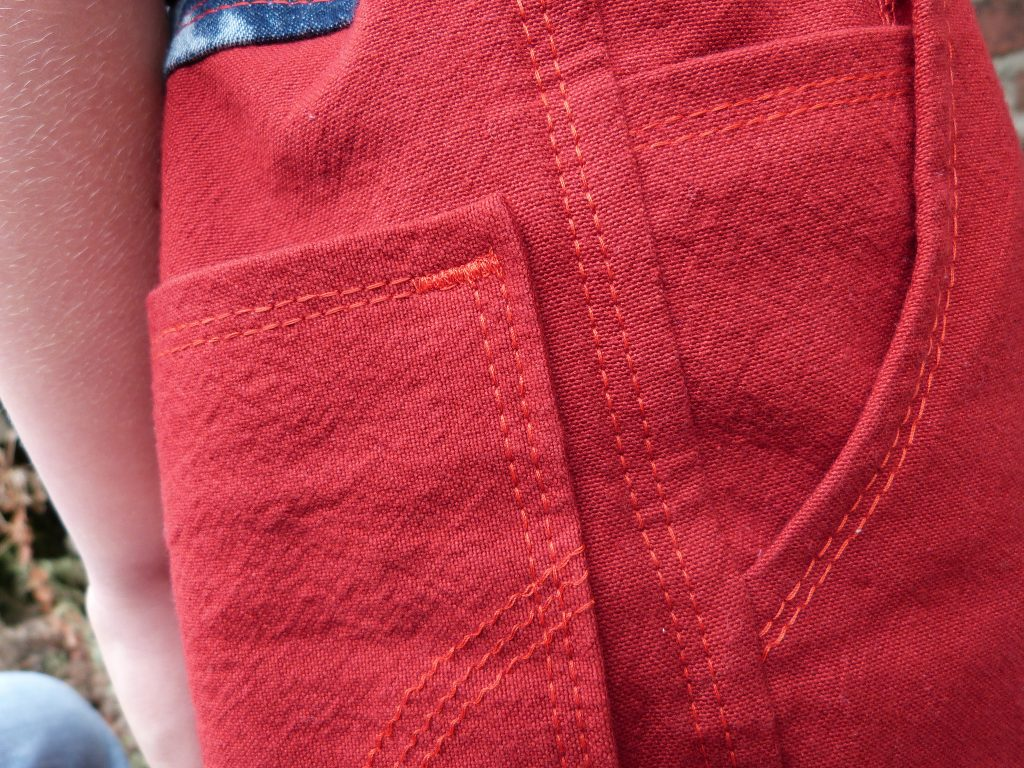A pair of red jeans