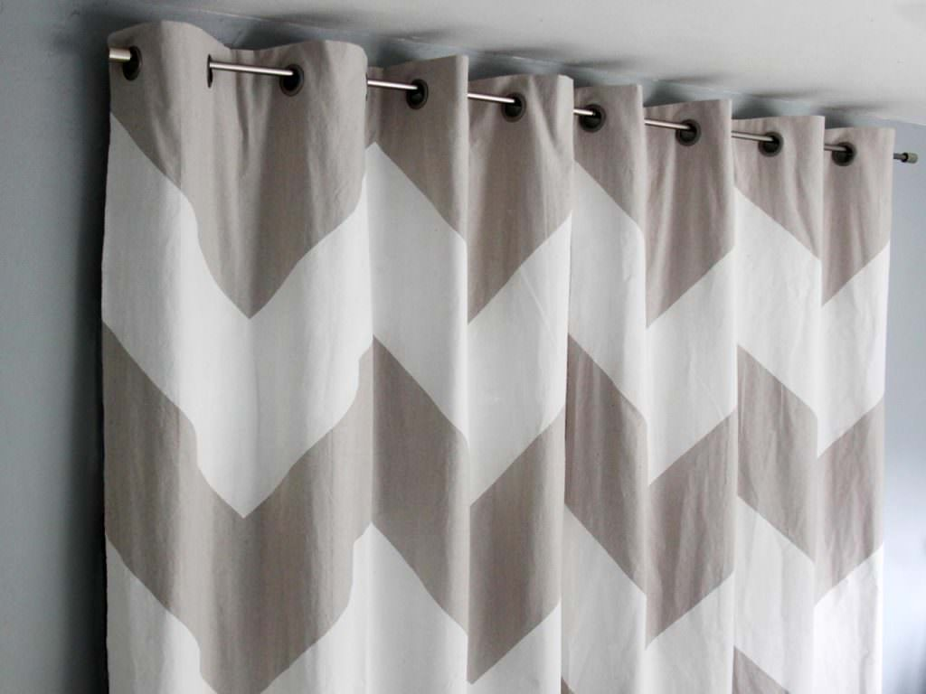 Chevron painted no-sew drop cloth curtains