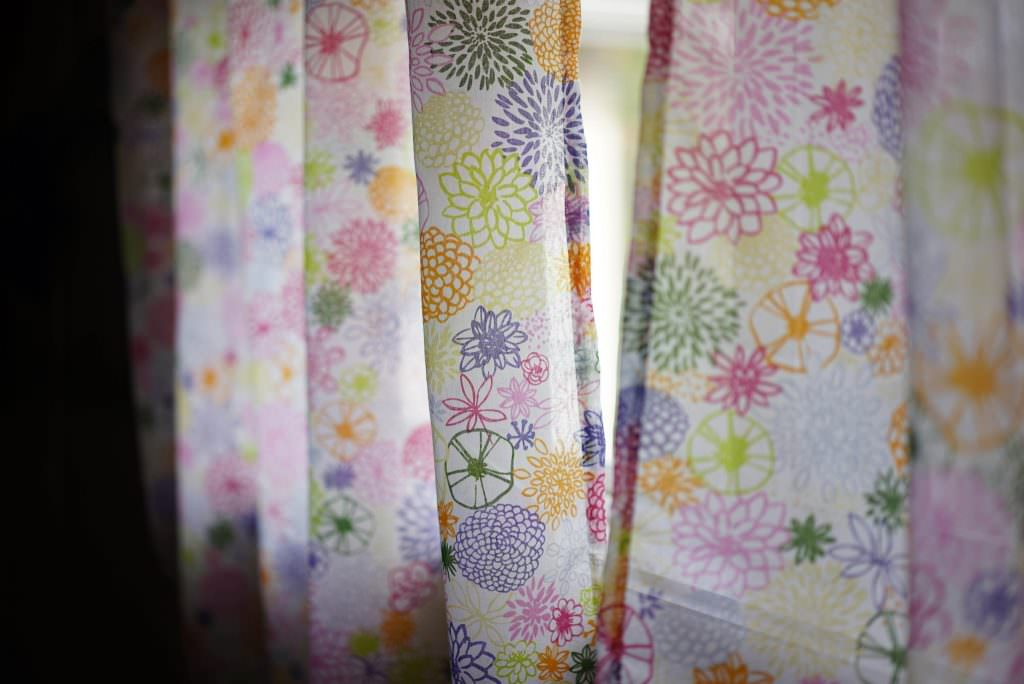 Colorful floral curtains