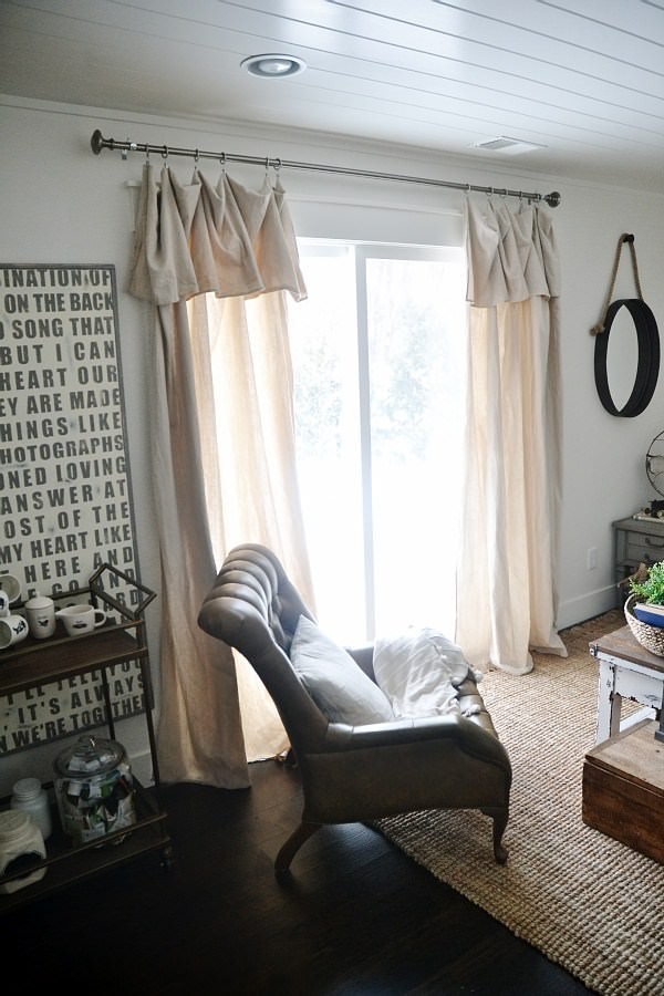 Drop cloth curtains with a DIY valance