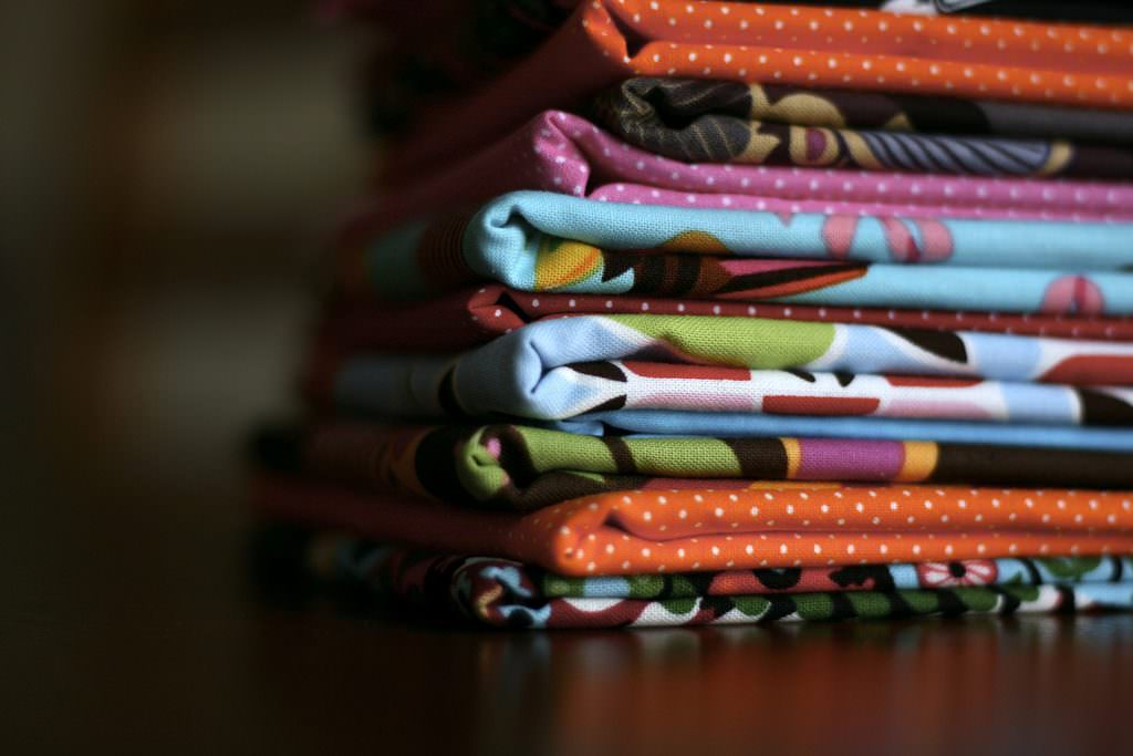 A stack of online fabric