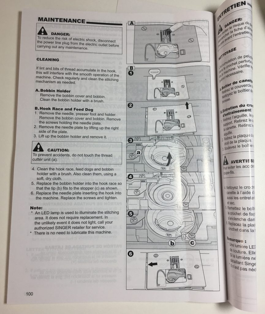 The Maintenance section of a sewing machine manual