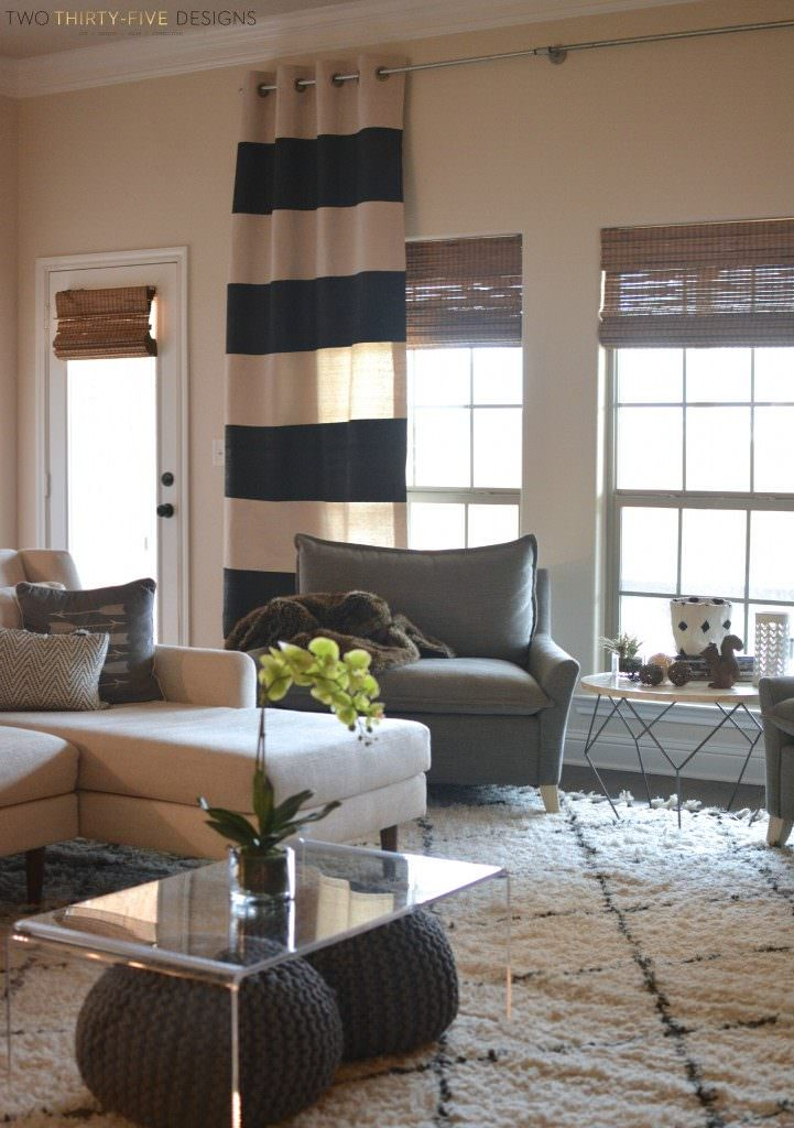 Painted DIY drop cloth curtains in a living room