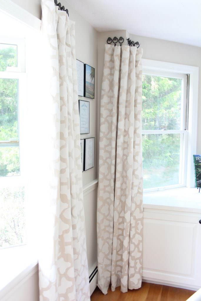 Stenciled drop cloth curtains in a living room
