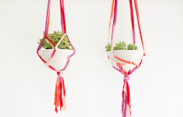 Two colorful macrame planters