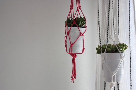 Two rope macrame plant holders